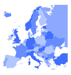political map of europe in four shades of blue on vector image vector image