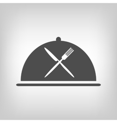 Restaurant icon with grey cloche and flatware vector image