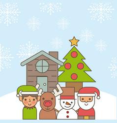 santa helper deer snowman cartoon house and tree vector image