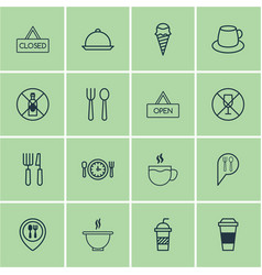 Set of 16 eating icons includes closed placard vector