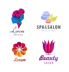 set of spa logos flower woman silhouette vector image vector image