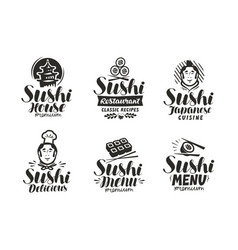 sushi and rolls logo or label japanese fast food vector image vector image