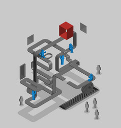 Team work competition cooperation isometric vector