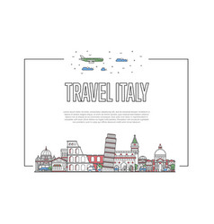 travel italy poster in linear style vector image vector image