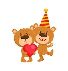Two cute teddy bear characters birthday party vector