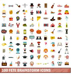 100 fete brainstorm icons set flat style vector