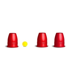 Magic cups game with three stainless red cups vector