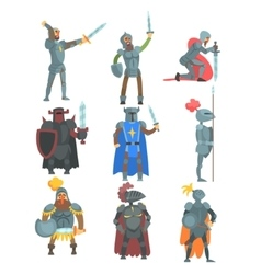 Knights in full armor set of flat vector