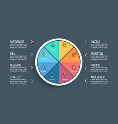 Pie chart presentation template with 8 vector