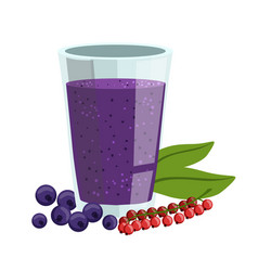 Red currant and blueberry smoothie non-alcoholic vector