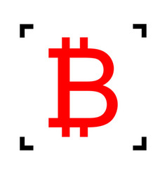 Bitcoin sign red icon inside black focus vector