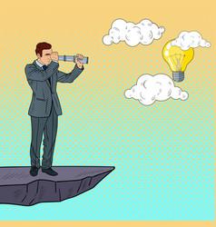 pop art businessman with telescope vector image