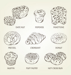Graphic sketch of different pastry products vector