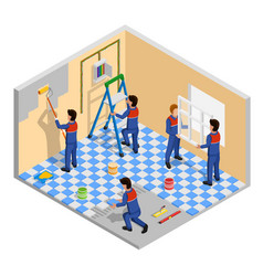 Renovation isometric composition vector