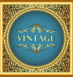 Vintage background frame with a gold floral vector