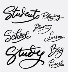 Study and student hand written typography vector