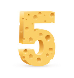 number five on white for design vector image