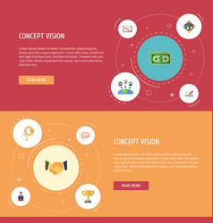 Flat icons design administration schedule and vector
