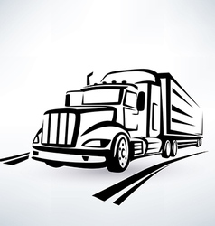 American lorry silhouette truck outlined sketch vector