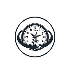 24 hours-a-day concept clock face with a dial and vector image