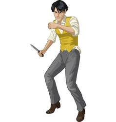 Asian brawling man cartoon character vector