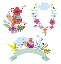Beutiful floral compositions with cute snail vector image