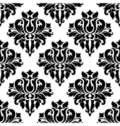 Classic black floral damask seamless pattern vector