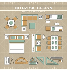 Interior design elements tools vector