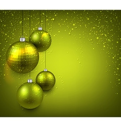 Background with green christmas balls vector