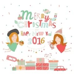 Christmas with typographic background vector
