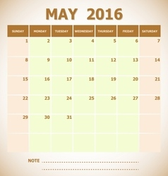 Calendar may 2016 week starts sunday vector