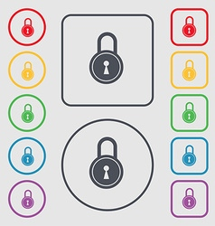 Closed lock icon sign symbol on the round and vector