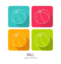 Line art ball icon set in four color variations vector