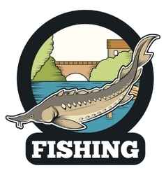 Sturgeon fishing banner vector