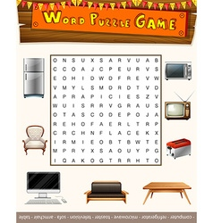 Word puzzle game with things in the house vector