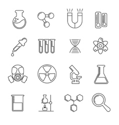 Chemistry thin line icons set vector