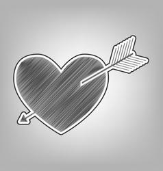 Arrow heart sign pencil sketch imitation vector
