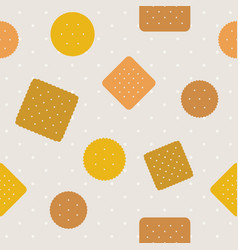 biscuitcraker and polka dot seamless pattern vector image