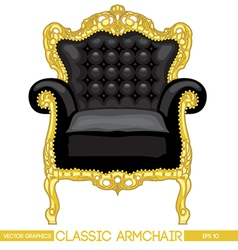 Black and yellow classic armchair over white backg vector image vector image