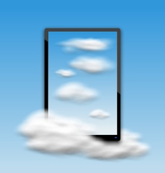 Black tablet pc computer with clouds and blue sky vector