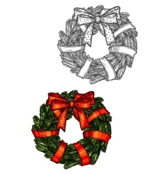 Christmas wreath sketch icon with red ribbon vector image