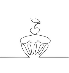 Cup cake with cherry vector