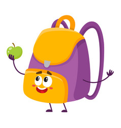 cute and funny smiling school bag backpack vector image