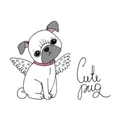 Cute pug dog vector
