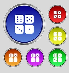 Dices icon sign round symbol on bright colourful vector