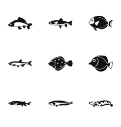 Fish icons set simple style vector