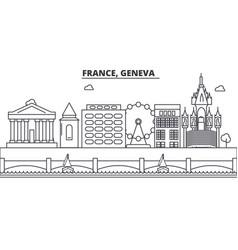 france geneva architecture line skyline vector image