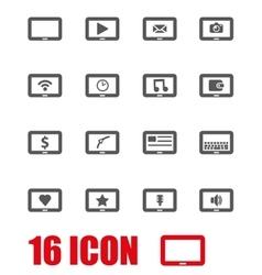 grey tablet icon set vector image vector image