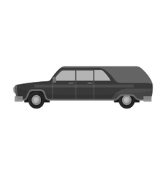 Hearse icon in monochrome style isolated on white vector