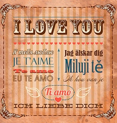 I Love You In Seven Languages vector image vector image